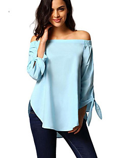 Women's Casual/Daily Street chic Summer Blouse,Solid Boat Neck Long Sleeve Blue / White / Gray Polyester Medium