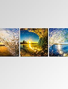 Riproduzione / Paesaggio / Patriotico / Moderno / Romantico Print Canvas Tre Pannelli Pronto da appendere,Orizzontale