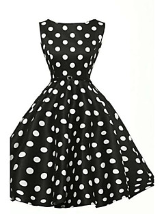 Gaine Patineuse Robe Femme Soirée / Cocktail Vintage Chic de Rue,Points Polka Col Arrondi Mi-long Sans Manches Blanc Noir Coton Polyester