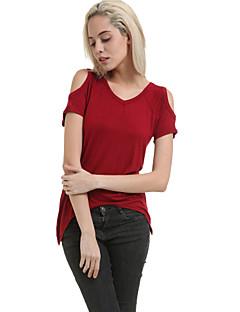 T-shirt-Obuwie damskie-Frędzel-Bawełna-Krótki rękaw-Okrągły dekolt / Z odsłoniętymi ramionami
