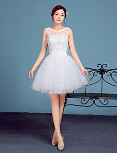 A-line Wedding Dress-White Short/Mini Scoop Lace / Tulle