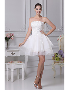 A-line Wedding Dress-Ivory Short/Mini Strapless Organza / Satin