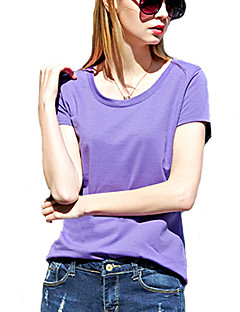 Damen Solide Einfach / Street Schick Ausgehen T-shirt,Rundhalsausschnitt Kurzarm Rosa / Weiß / Schwarz / Grau / Gelb / Lila Baumwolle Dünn