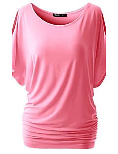 Mulheres Camiseta Happy-Hour Simples / Moda de RuaSólido Azul / Rosa / Vermelho / Branco / Preto / Cinza / Verde / Amarelo / Roxo Algodão