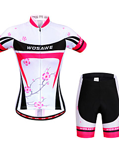 WOSAWE Cycling Jersey with Shorts Women's Short Sleeve BikeBreathable Quick Dry Anatomic Design Reflective Strips Back Pocket