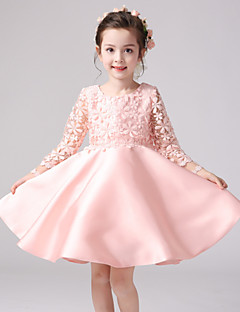 A-line Knee-length Flower Girl Dress - Lace / Satin / Polyester 3/4 Length Sleeve Jewel with