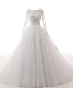 A-line Wedding Dress See-Through Cathedral Train Jewel Lace Tulle with Appliques Button Lace Pearl