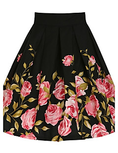 Women's Floral Black Skirts,Vintage Knee-length