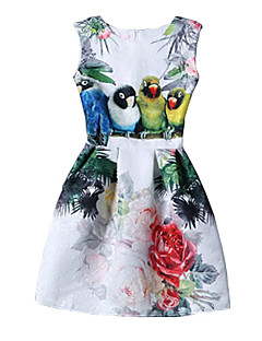 Sukienka Obuwie damskie Vintage Pochwa Nadruk Przed kolano Okrągły dekolt Poliester