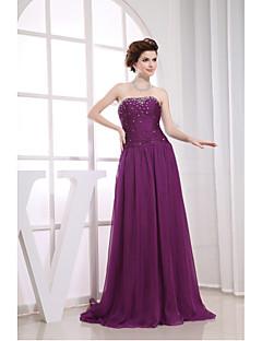 저녁 정장파티 드레스-그레이프 A-라인 코트 트레인 끈없는 스타일 쉬폰