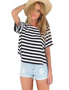 Vrouwen Sexy Zomer T-shirt,Uitgaan Gestreept Ronde hals Korte mouw Wit Katoen / Rayon Dun