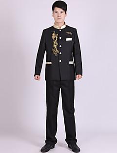 חליפות גזרה מחוייטת Mandarin Collar Single Breasted More-button פוליאסטר פסים שני חלקים שחור / לבן