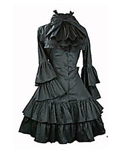 Langermet Knee-lengde Svart Satin Aristocrat Lolita Dress
