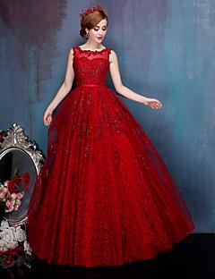 A-line Wedding Dress-Floor-length Jewel Lace