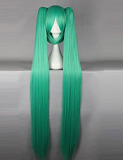 פאות קוספליי Vocaloid Hatsune Miku ירוק אורך נוסף אנימה / משחקי וידאו פאות קוספליי 130 CM סיבים עמידים לחום נקבה