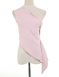 Boutique G Women's Solid Pink / Black Blouse,Slash Neck Sleeveless