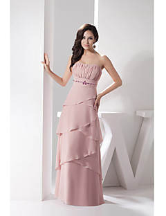 포멀 이브닝 드레스-펄 핑크 시스/칼럼 바닥 길이 끈없는 스타일 쉬폰 / 샤르뫼즈
