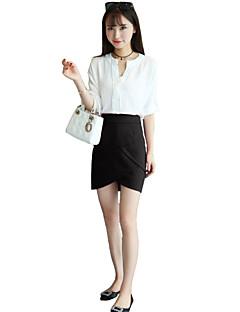 Women's Solid Red / Black Skirts,Work Mini