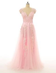 Fiesta formal Vestido-Rosa Caramelo Corte en A Hasta el Suelo-Cuello en V Encaje / Tul