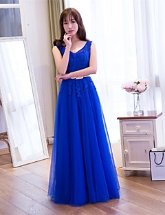 Cocktail Party Dress-Royal Blue / Silver A-line V-neck Floor-length Lace / Tulle