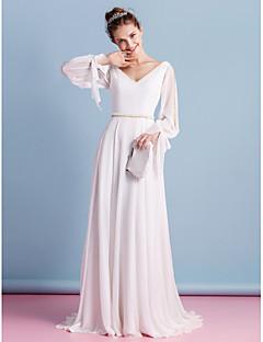 Lanting Sheath/Column Wedding Dress - Ivory Court Train V-neck Chiffon