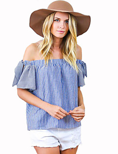 Women's Striped Blue Blouse,Boat Neck Short Sleeve