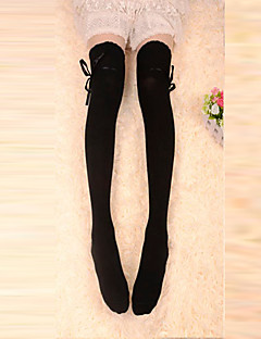 Black Ribbon Cotton Classic Lolita Over Knee Socks