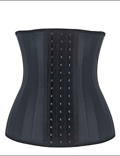 Burvogue Women's Black Sexy 25 Steel Boned Smooth Latex Waist Trainning Corset with 3 hook and eyes