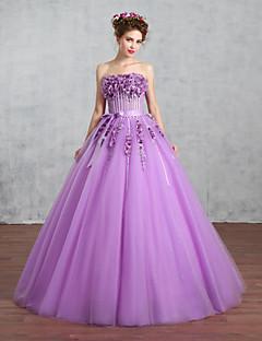 נסיכה שמלת כלה  שמלות חתונה צבעוניות עד הריצפה סטרפלס טול עם פפיון / תחרה / פנינה / סרט / אפליקציות / חרוזים