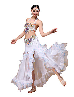 Belly Dance Outfits Women's Performance Chiffon / Cotton / Polyester Crystals/Rhinestones / Paillettes / Ruched 3 Pieces