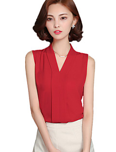 Summer Fashion Women's Slim Chiffon V Neck Sleeveless Casual Blouse Shirt Tops