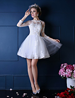 Princess Wedding Dress Short / Mini Jewel Lace / Tulle with Beading / Lace