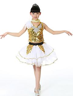 ג'אז תלבושות בגדי ריקוד ילדים ביצועים ספנדקס / נצנצים נוצות / פרווה / נצנצים 3 חלקים בלי שרוולים גבוה חצאית / Neckwear / עליון