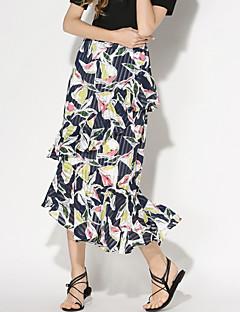 Women's Floral Multi-color Skirts,Holiday / Beach Asymmetrical Ruffle Fashion Slim Fishtail skirt Nylon/De chine