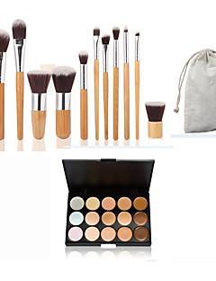 11pc бамбуковой ручкой и нейлон волос косметический набор кисти макияж и 15 цветов маскирующее