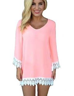 Women's Casual/Daily Vintage / Simple All Seasons T-shirt,Solid Round Neck Long Sleeve Pink Rayon / Polyester Thin
