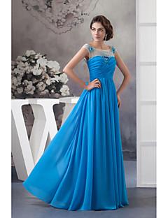 Formeller Abend Kleid-Meeresblau Chiffon-A-Linie-Boden-Länge-Schmuck