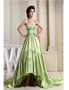 Formal Evening Dress-Sage A-line Strapless Asymmetrical Taffeta