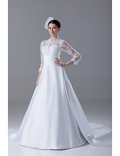 Lanting Bride® A-line Wedding Dress Cathedral Train High Neck Lace / Satin with Bow