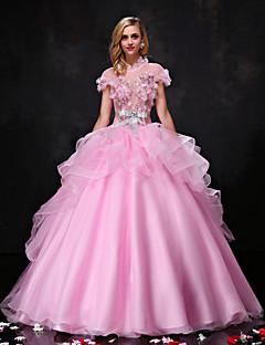 공주 웨딩 드레스 색상 웨딩 드레스 바닥 길이 하이 넥 오간자 / 튤 와 비즈 / 리본 / 크리스탈 / 꽃장식