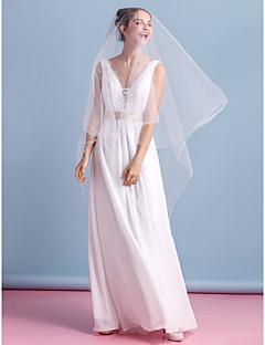 칼집 / 열 웨딩 드레스 - 아이보리 발목 길이의 V 넥 쉬폰