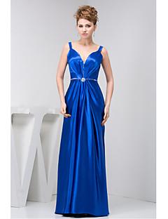 Vestido-Azul Real Evento Formal Tubinho Alças Longo Charmeuse