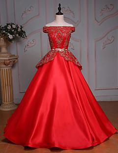 Robe de Mariage -Couleur Rubis Princesse Épaules Dégagées Ras du Sol Ras du Sol