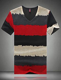Men's Fashion Striped Mesh V Collar Slim Fit Short-Sleeve T-Shirt