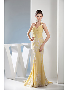 Formal Evening Dress-Daffodil Trumpet/Mermaid Halter Court Train Chiffon