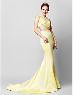 Formal Evening Dress - Daffodil Trumpet/Mermaid Scoop Court Train Lace / Satin
