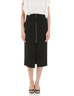 Women's Solid Black / Gray Skirts,Work Above Knee