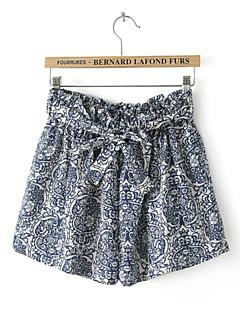 Women's Print Blue Shorts Pants,Simple