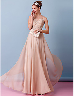 Lanting Sheath/Column Wedding Dress - Champagne Floor-length Bateau Chiffon