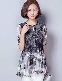 דפוס צווארון עגול פשוטה / סגנון רחוב יום יומי\קז'ואל חולצה נשים,קיץ שרוולים קצרים שחור דק חוטי זהורית / פוליאסטר